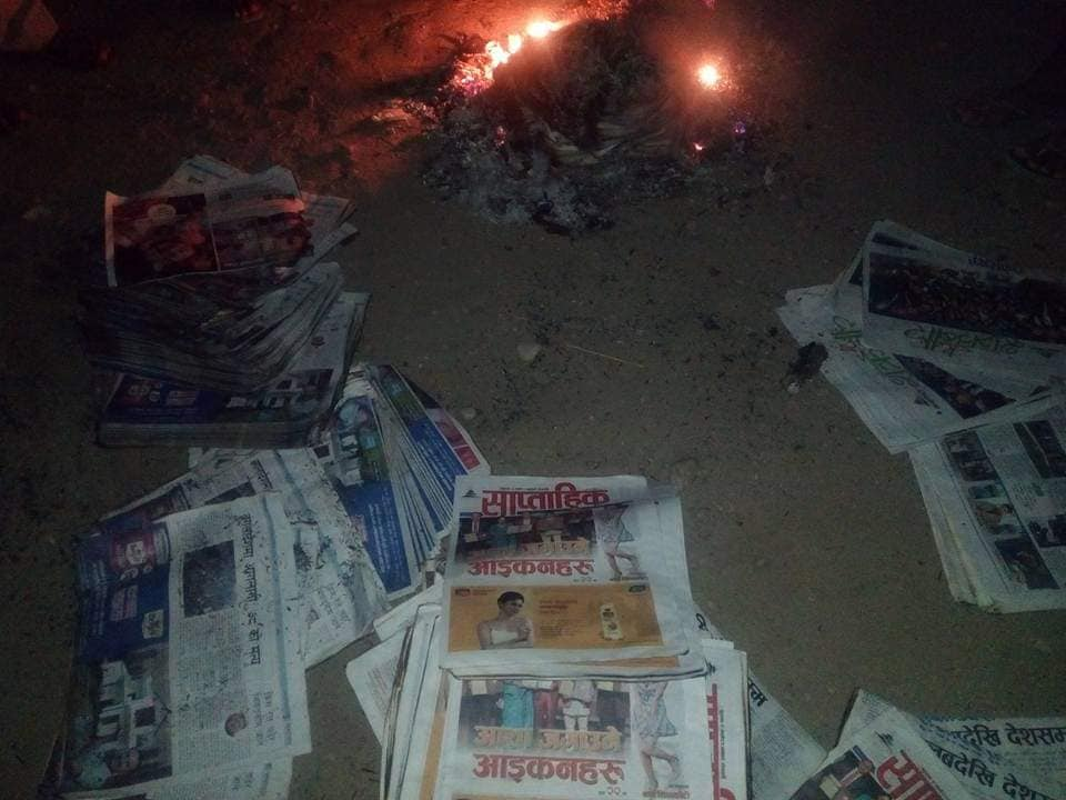 Unknown gang burn national dailies